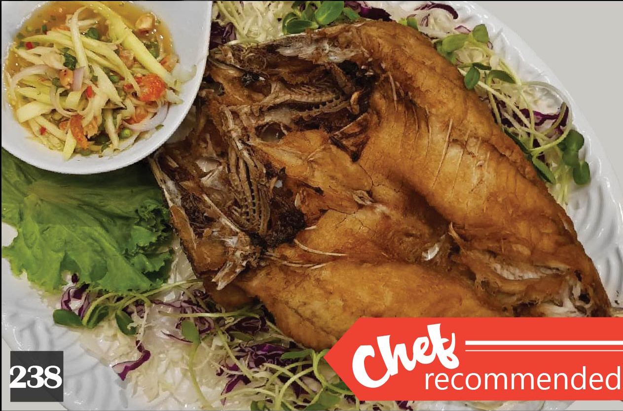 238 | Deep Fried Sea Bass with Spicy Mango Salad