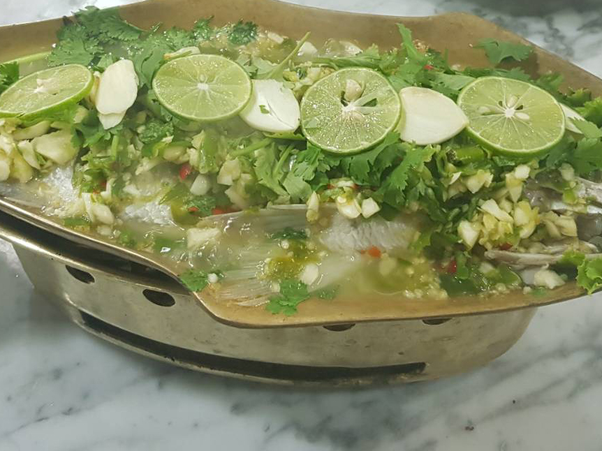 Steamed Sea Bass with Spicy -Sour sauce